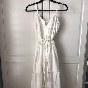 White long button down dress with eyelet detail